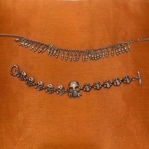 Goth Silver Rose Skulls bracelet, necklace, anklet